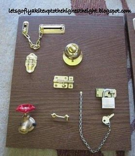 Lock board (fine motor skills) -- lol let's teach runners how to get out of the house o.O--autism humor.  ;)