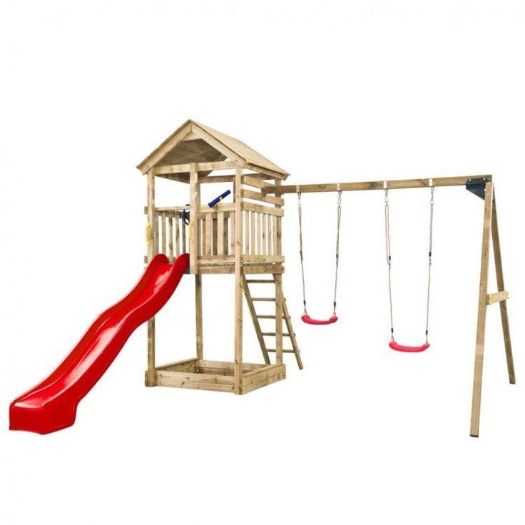 Kids Playhouse Set Ladder Wooden Playground Children Red Slide Toy Fun Swings #KidsPlayhouseSet