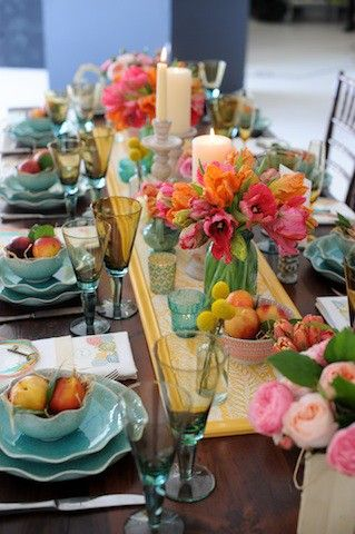 Turquoise Scalloped Rim Dishes With Pretty Centerpieces On Yellow Table Runner,,,very pretty!