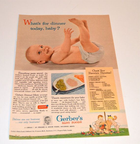 1953 Gerber's Baby Food Ad Gerber Baby Foods Magazine Advertisement, Lux Toilet Soap Ad, Baby Room Decor Collectible Ads