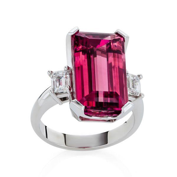 Rubelite & diamond ring - Stones Diamonds