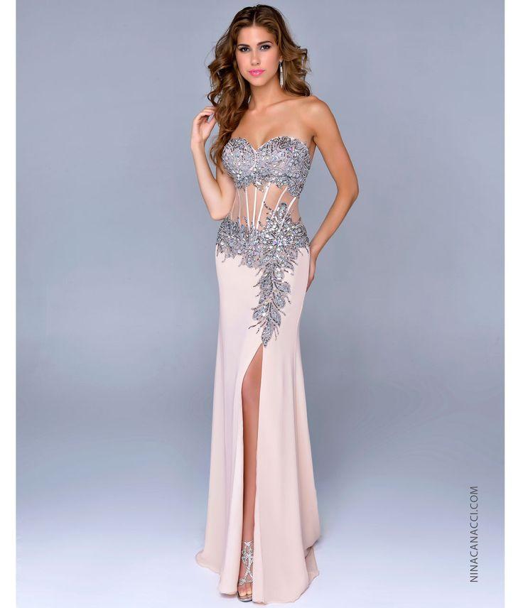 Nina Canacci 2014 Prom Dresses - Nude Chiffon & Illusion Corset Prom Gown - Unique Vintage - Prom dresses, retro dresses, retro swimsuits.