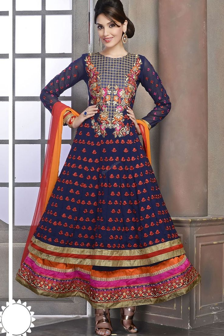 Blue Anarkali Churidar Suit And Orange Dupatta Be The Center Of Attraction With Fancy Indian Wedding DressesIndian