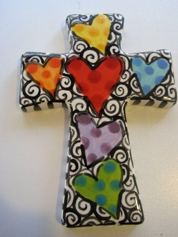 Hand Painted Ceramic Cross via Etsy