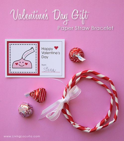 After making my paper straw heart garland, I started thinking of ways I could use my extra straws for classroom gifts. Naturally, having a little girl who loves jewelry, I came up with a bracelet!Package my free printable Valentine's Day Tags, some candy and these easy straw bracelets in a clear baggie with my matching bag toppers and you'll have a perfect gift for little friends! This also makes a fun and easy craft to do with any child.I used my leftover red and white straws, but hSchools Valentine, Valentine Day Gift, Crafty Valentine, Crafty Schools, Amy Locurto, Printables Valentine, Paper Straws, Straws Bracelets, Free Printables
