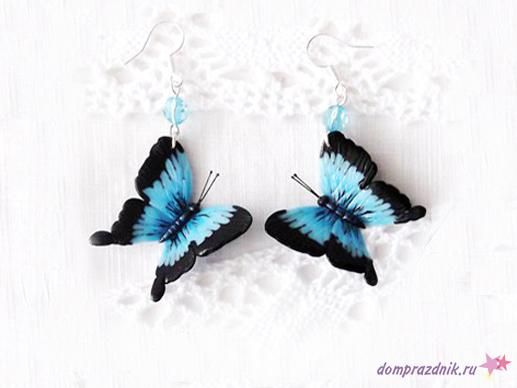 Серьги с голубыми бабочками - Все о полимерной глине