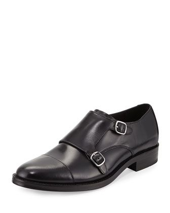 Madison Double-Monk Leather Loafer, Black by Cole Haan at Neiman Marcus Last Call.