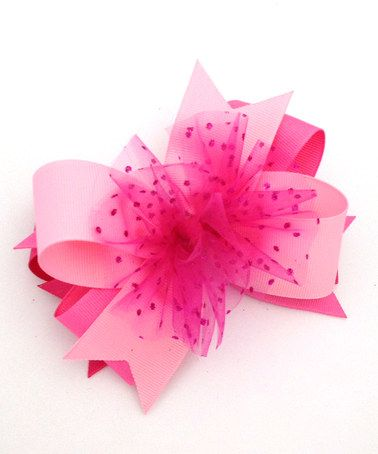 Look what I found on #zulily! Pink & Light Pink Tulle Layered Bow Clip #zulilyfinds
