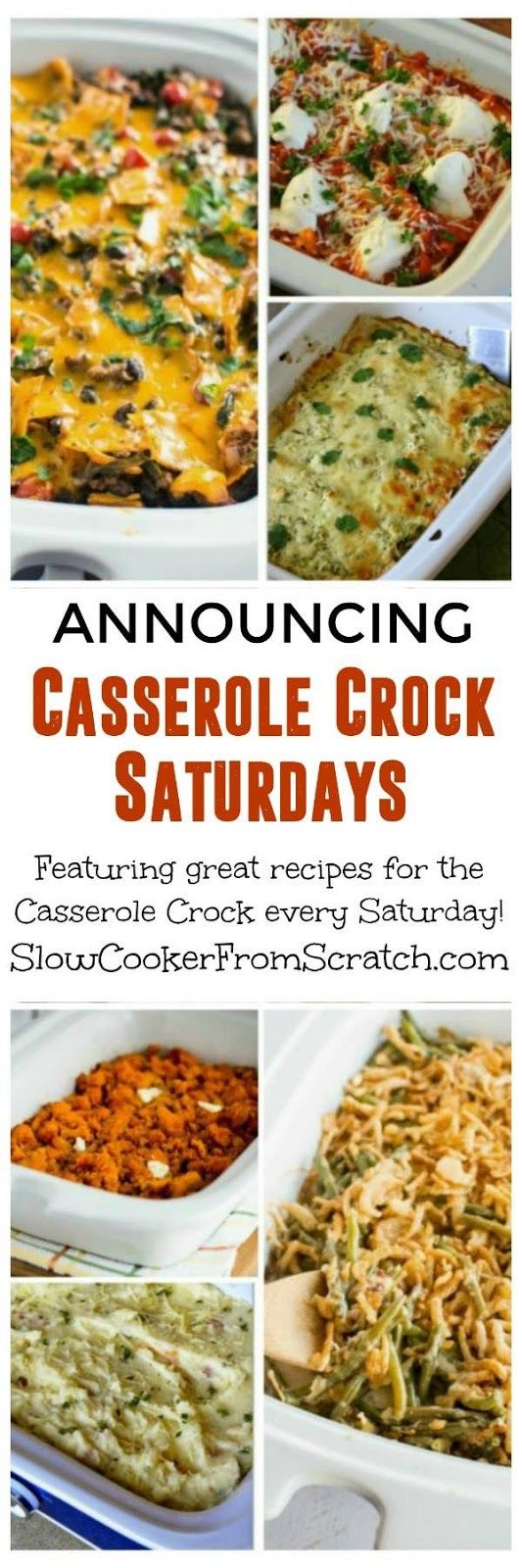 Announcing Casserole Crock Saturdays and Recipes for the New Crock-Pot Casserole Crock Slow Cooker! Visit the site every Saturday to get a recipe idea for the Casserole Crock slow cooker that's shaped like a casserole dish; this round-up post starts it off with a good collection of casserole crock recipes. [found on SlowCookerFromScratch.com]
