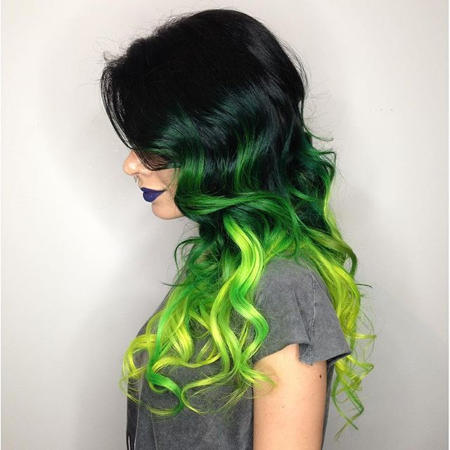 Dark to Neon Green! The colors on this long curly hair are really bold!