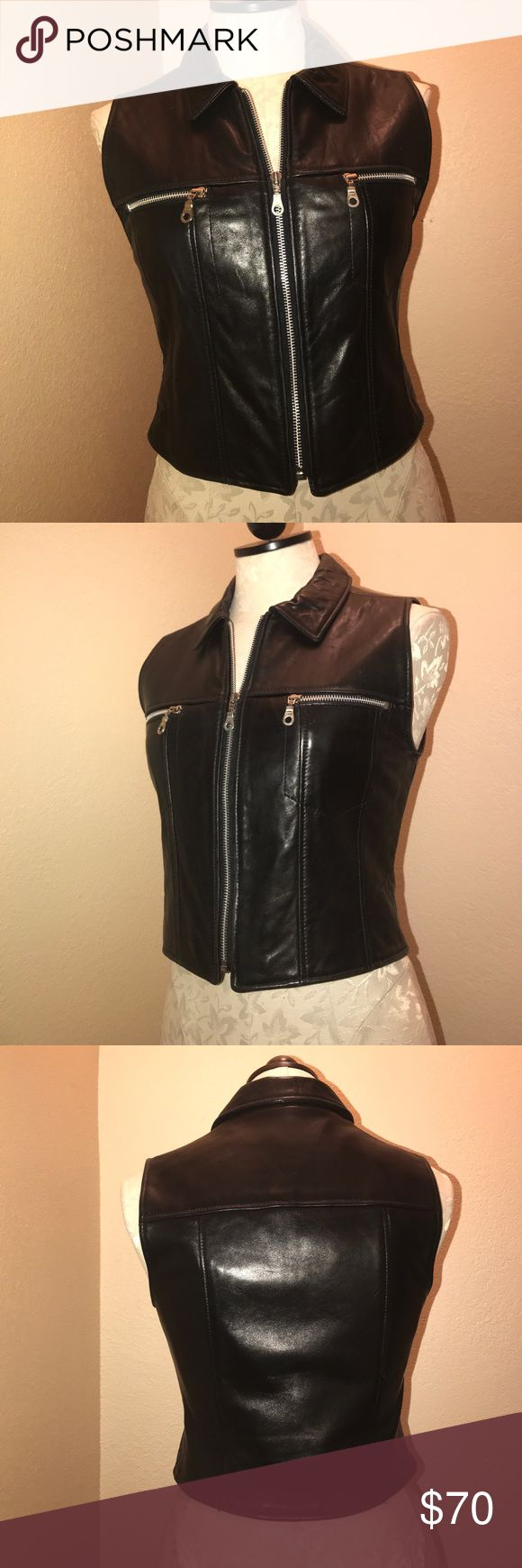 Bebe motorcycle leather vest Super cute vintage motorcycle vest by Bebe real leather. Size M but can also fit a S.  All reasonable offers will be considered! Jackets & Coats Vests