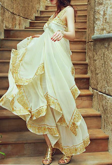Beige Embroidery Cascading Chiffon Dress