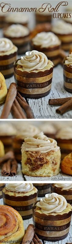 Cinnamon Roll Cupcakes | Tastes just like a light and fluffy cinnamon roll! Two treats in one!