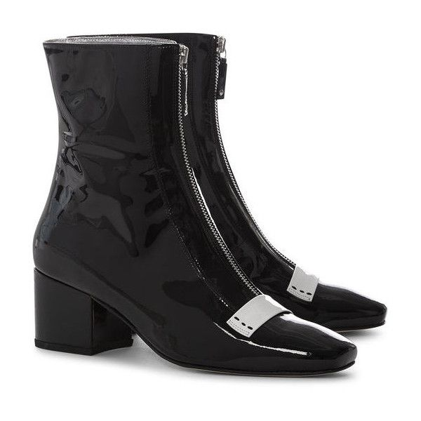 Black Patent Leather Delta Boots Dorateymur Avenue32 ($400) ❤ liked on Polyvore featuring shoes, boots, patent shoes, black boots, patent boots, black patent leather shoes and patent leather boots