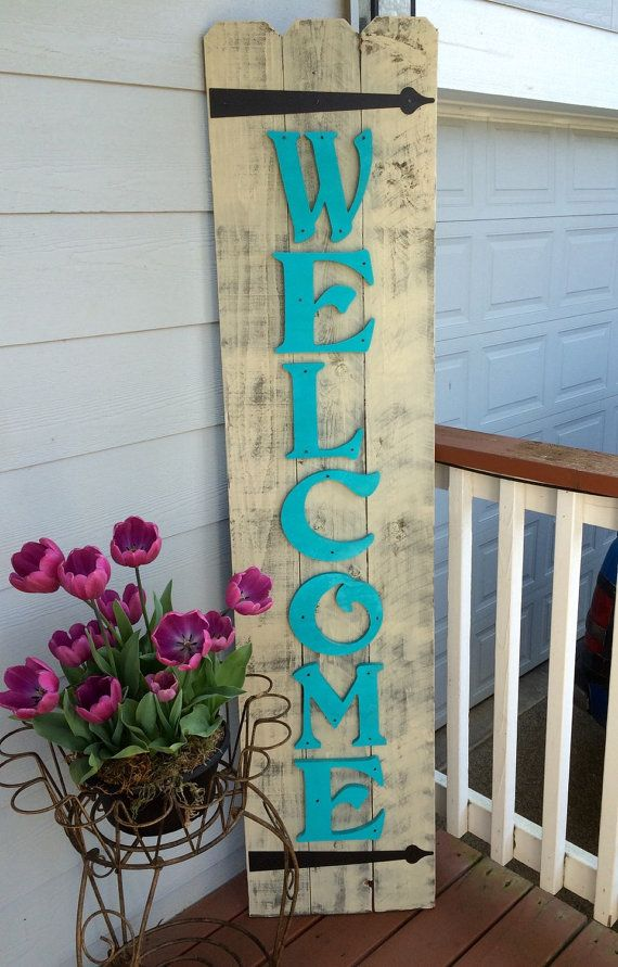 front porch teal wood sign spring decor front porch welcome sign welcome signs outdoor welcome signs rustic outdoor signs - Outdoor Home Decor Ideas