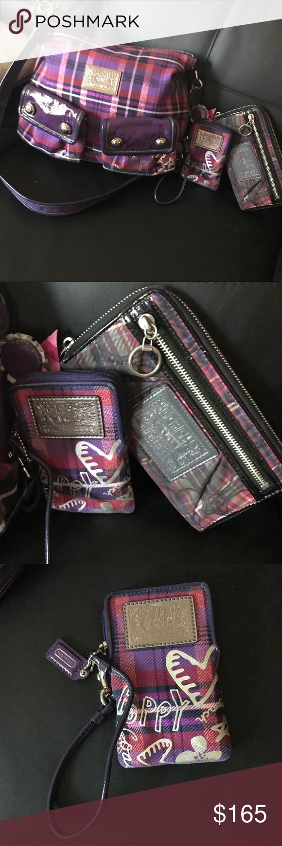 Coach Poppy Purple Band And Wallets Bundle Bag is like new. Wristlet is also like new. Zipper wallet is faulty dirty on the outside Coach Bags
