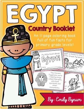 """This """"All About Egypt"""" booklet can be used for a very basic country study in lower elementary grades! Each page contains a basic fact and related illustration. All graphics are in an outline format so that it's ready to be colored like a mini-coloring book.This coloring booklet gives all the general/basic information about Egypt, including:-geography-Egyptian flag-The Nile River-ancient Pharaohs -the Sphinx/Great Pyramid of Giza-camels-religion-mummification-hieroglyphics-common Arabic…"""