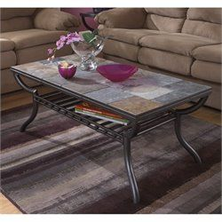 Ashley Antigo Slate Tile Rectangular Coffee Table in Black