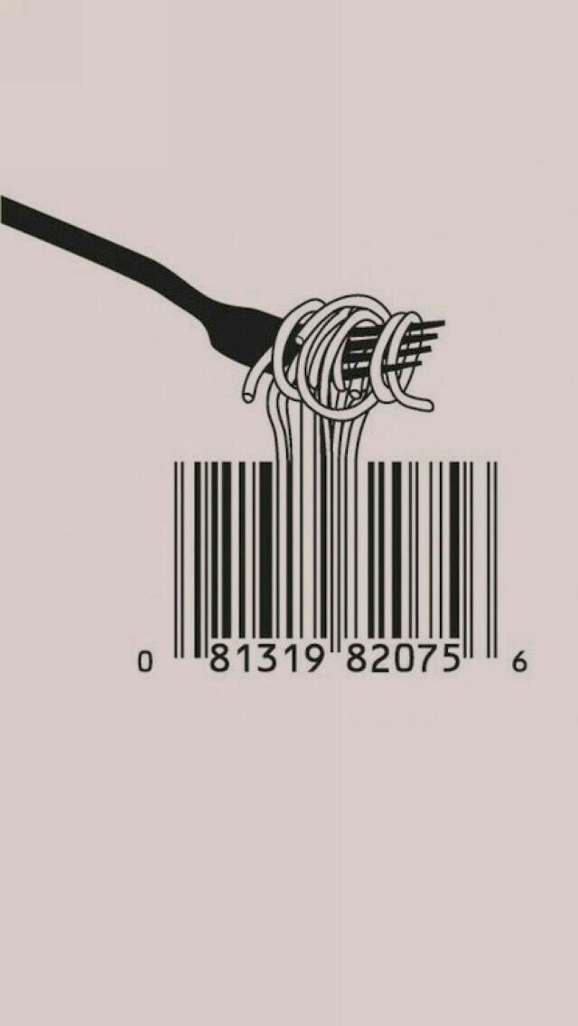 Spaghetti Barcode Fork iPhone 5 Wallpaper