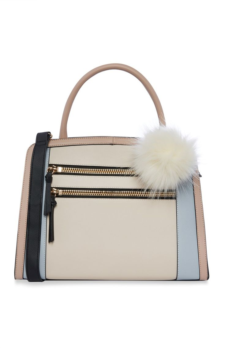 Primark - Cream Contrast Pom Pom Tote Bag