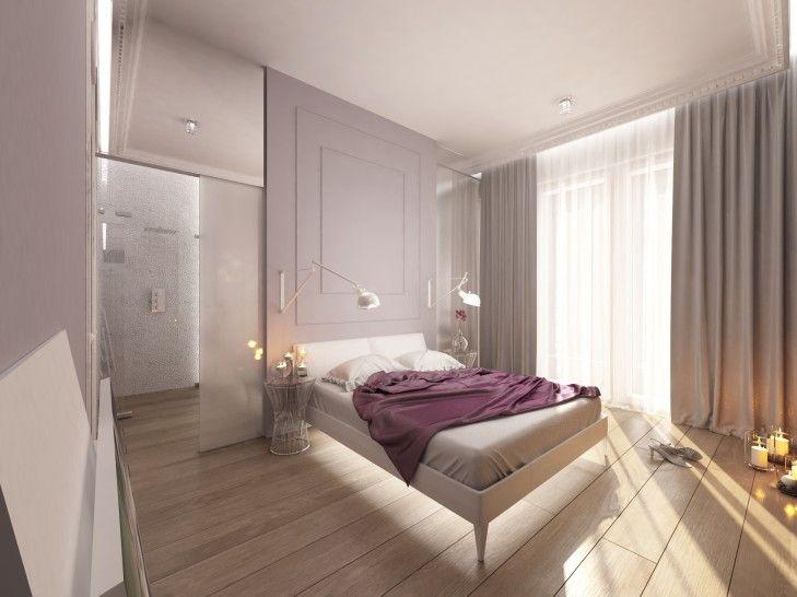 Wystrój wnętrza sypialni w apartamencie w Warszawie. Sypialnia została optycznie połączona z łazienką szklaną ścianą i drzwiami przesuwnymi za łóżkiem.