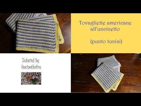 tovagliette americane all'uncinetto tutorial (punto tunisi) - YouTube