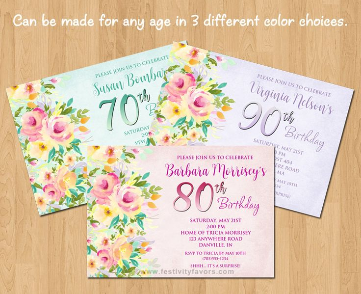 Floral 60th, 70th, 80th, 90th Birthday Party Invitations ...