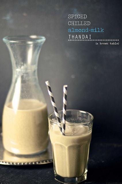 Spiced chilled almond milk thandai