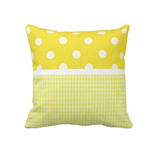 Yellow Plaid and Polka Dots Pillows