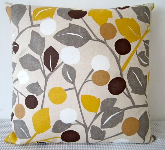 Yellow Brown Throw Pillows : Floral retro yellow, brown, grey and white cushion Cover, contemporary designer fabric slip ...