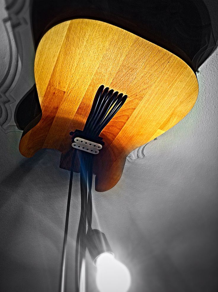 My guitar ceiling lamp made by oak tree!