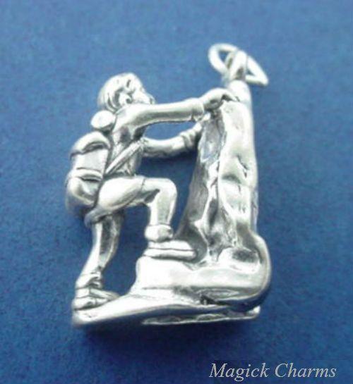 Alpinista alpinista .925 prata esterlina alpinista com mochila, pingente de escalada – lp3492