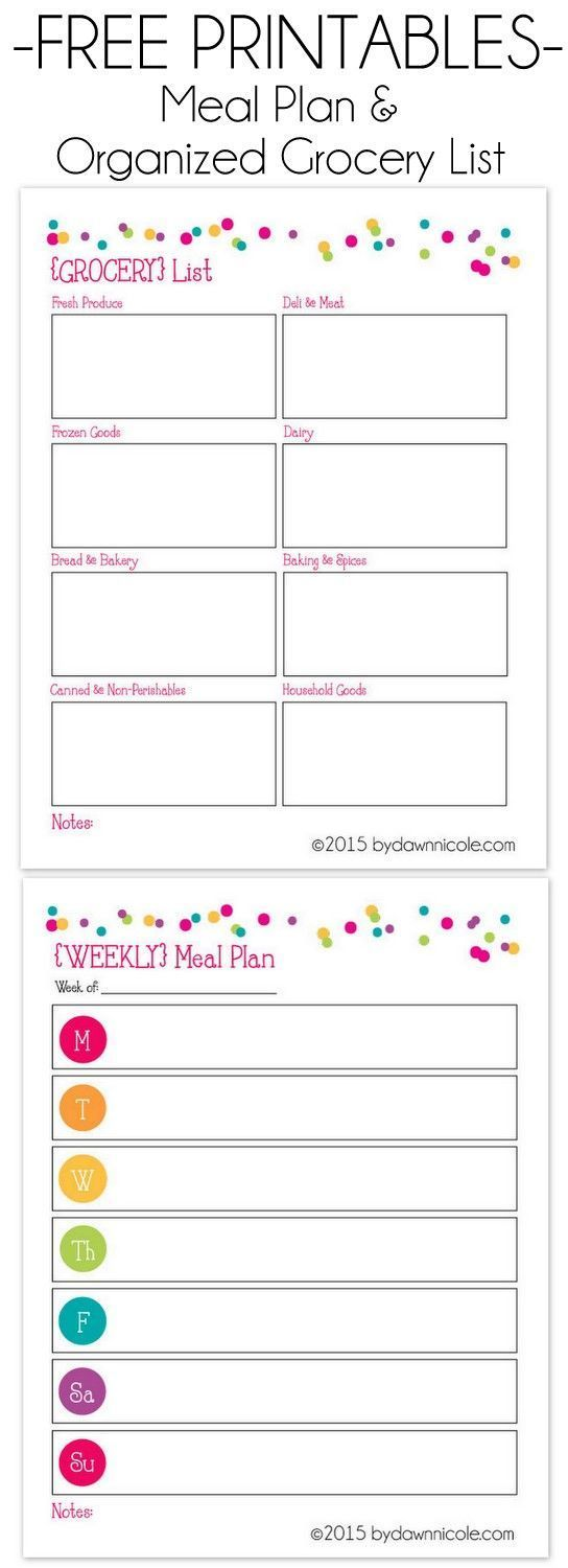 Free Meal Plan & Grocery List Printable Organized by Store sections for easier, faster trips to the Grocery!