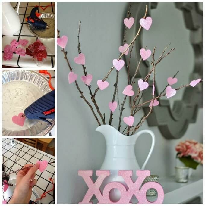 How ADORABLE is this DIY heart tree! Just hop on outside and grab some whimsical twigs, somecute cardboard paper and other decorative crafts and you're good to go! If you dont own a glue gun (what are you doing, get on it girl!) double sided tape can do just the trick!
