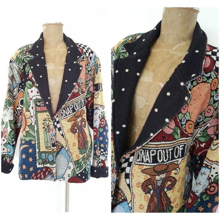 Vintage 80s Painted Pony Jacket Size Large Tapestry Artsy Mary Engelbreit Coat #PaintedPony #BasicCoat