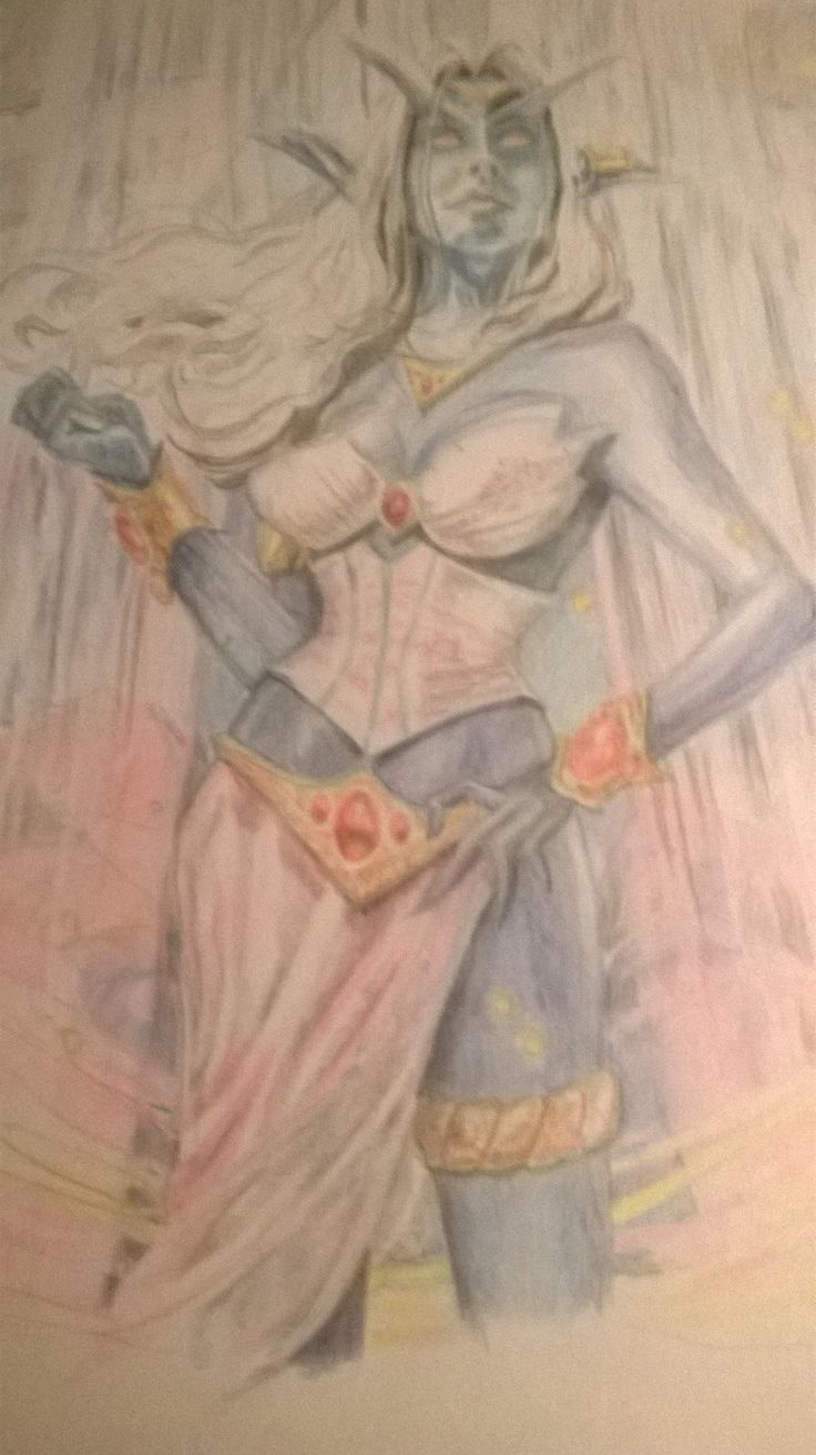 This was something my mother drew using reference from a world of warcraft gaming book. she used colour pencil on paper. :)