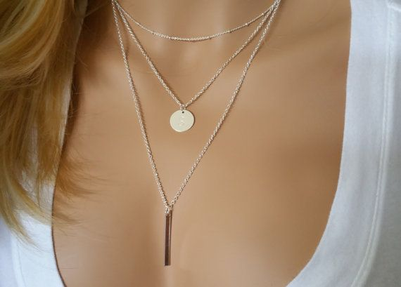 Monogram Silver Layering Necklace, Layered Necklace Set of Three Bar Necklace, Stacked Necklace, Layer Necklace Skinny Bar Necklace Disc 031
