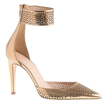 Gorgeous (and 50% off sale price). Very tempting.: Perforated Mirror, Metals Pumps, Gold Pumps, Collection Natasha, Mirror Metals, Jcrew, Pumps Shoes, J Crew Collection, Natasha Perforated