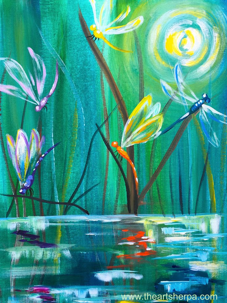 Dancing with Dragonflies easy acrylic painting tutorial for Youtube By the Art sherpa. Colorful Dragonfly painting at a pond in moonlight