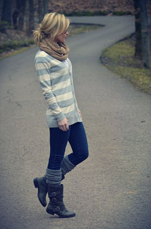 Striped cardigan, chunky scarf, subtle polka dot jeans, leg warmers and boots