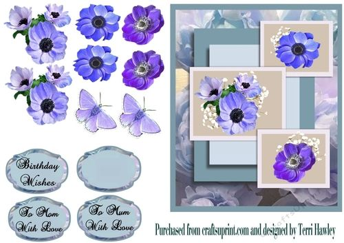 This beautiful 3D decoupage easy to make mothers day or birthday card.  The labels say Birthday Wishes, To Mum With Love , also To Mom with love.  The card have beautiful peonies on and a couple of butterflies as a optional choice.  This card when finished fits any A5 envelope.