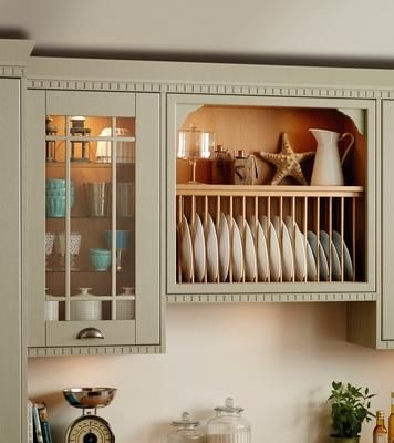 Extra Tall Beaded Gl Wall Unit With Internal Shelves And Pewter Effect Cup Handle Plate Rack Corbels Castellated