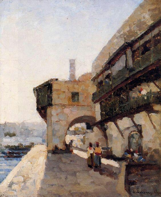 Algérie - Peintre Français, LEBOURG ALBERT (1849-1928), Huile sur toile, Titre : Le quai de l'Amirauté à Alger