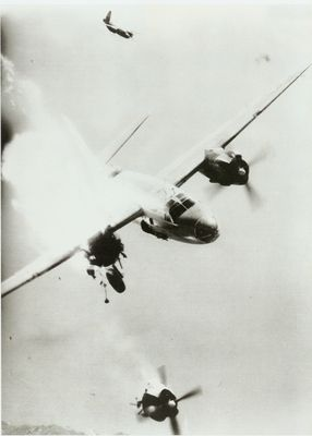 B-26 Marauder bomber, hit by ground-based anti-aircraft weapon directly, crashing over Toulon, France, 24 Nov 1943