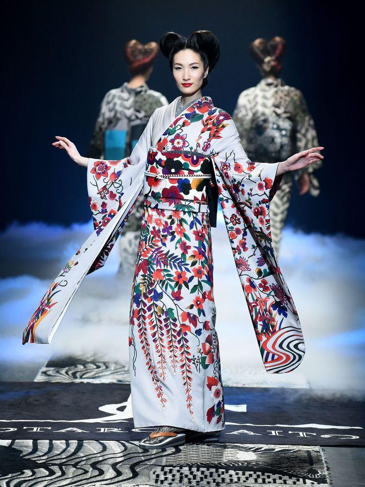 Kimono without rules: Models display creations by designer Jotaro Saito during Tokyo fashion week on March 16. | AFP-JIJI