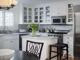 Matthew Kitchen, East Hampton, NY - traditional - kitchen - new york - by Smith River Kitchens.  Small island for small kitchen?