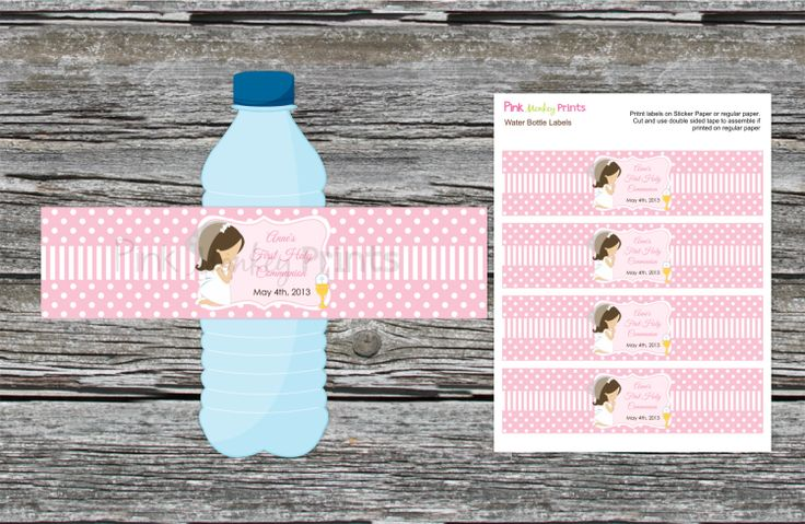 DIY  Girl First Communion Water Bottle Labels by PinkMonkeyPrints, $3.95