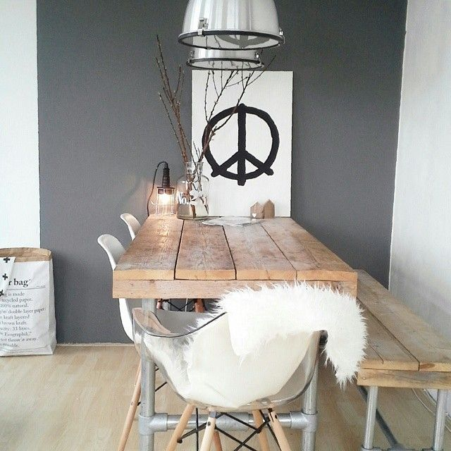 interior * dining room * wood * grey * peace * industrial * bench * eames * sheepskin