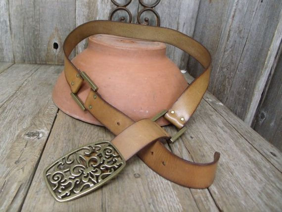 Retro Natural Tan Leather Belt w Antique Brass Finish Buckle