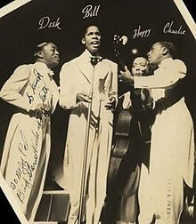 The Ink Spots were a vocal group in the 1930s and 1940s that helped define the musical genre that led to rhythm and blues and rock and roll, and the subgenre doo-wop. They gained much acceptance in both the white community and black community largely due to the ballad style introduced to the group by lead singer Bill Kenny. They were inducted into the Rock & Roll hall of fame in 1999.